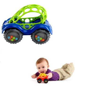 Oball Rattle and Roll Car Bundle Red and Blue 2 Items