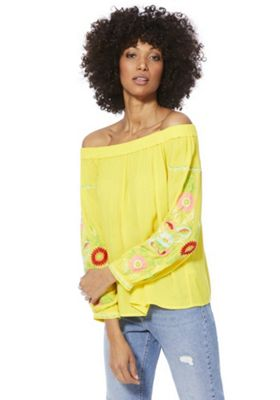 F&F Floral Embroidered Crepe Bardot Top Yellow 12