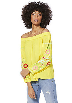 F&F Floral Embroidered Crepe Bardot Top - Yellow