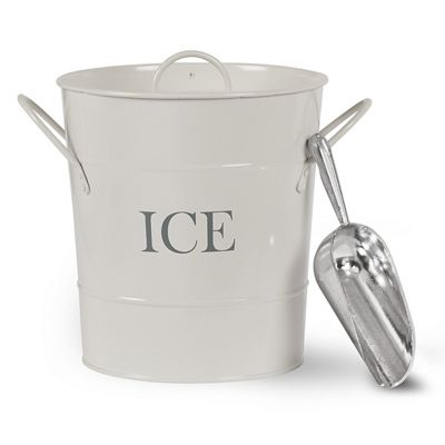 Traditional Ice Bucket With Scoop Holder And Carry Handles Retro Vintage Coated Steel