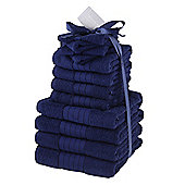 Luxury 100% Egyptian Cotton 12 Piece Face Hand Bathroom Jumbo Towel Bale Set - Navy
