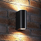 Auraglow 14w Outdoor Double Up & Down Wall Light - Black - Warm White
