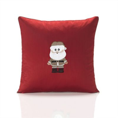 Christmas Claus Red Embroidered Cushion Cover - 46x46cm