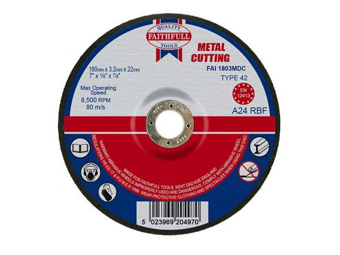 Faithfull Cut Off Disc for Metal Depressed Centre 180 x 3.2 x 22mm