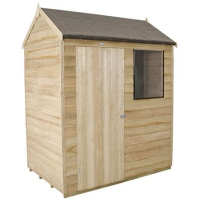 4 x 6 Rock Pressure Treated Apex Reverse Overlap Shed - Assembled 4ft x 6ft (1.22m x 1.82m)