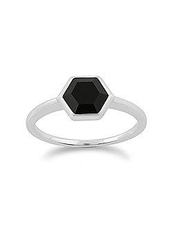 Gemondo 925 Sterling Silver 1.10ct Black Onyx Hexagonal Prism Ring