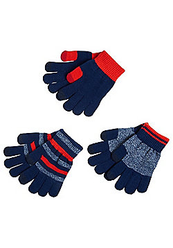 F&F 3 Pack of Striped and Plain Touch Screen Gloves - Navy