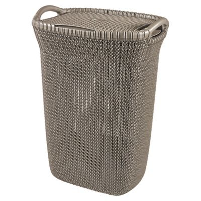 curver knit laundry hamper brown