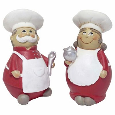Marco & Sofia the 12cm Set of Chef Home Figurine Ornaments