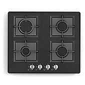 Russell Hobbs RH60GH402B, 4 Burner Gas Hob, 60cm Wide, Black Glass