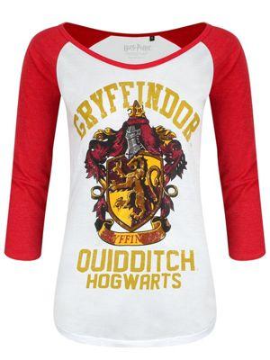 Harry Potter Gryffindor Women's Red & White Long Sleeve Raglan T-Shirt