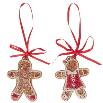 Set Of Two Gingerbread Girl & Boy Christmas Tree Decorations