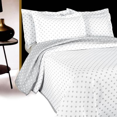 Homescapes Grey and White 'Dotty' Polka Dot Pattern Bedspread, Single