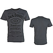 Jack Daniels Classic Black Logo Large T-Shirt, Grey - Other
