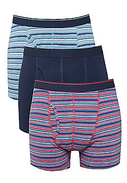 F&F 3 Pack of Striped and Plain Trunks - Navy