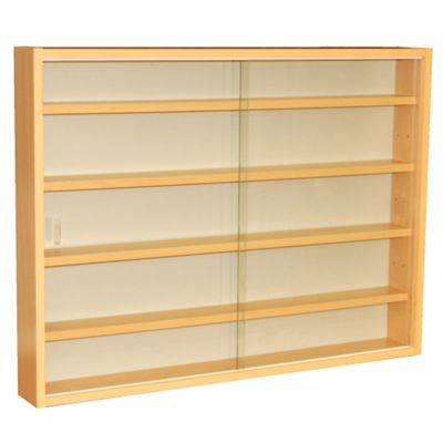 4 Shelf Glass Wall Display Cabinet - Beech