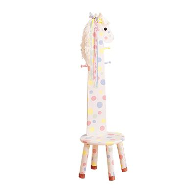 Teamson Kids Safari Stool W/Coat Rack - Pony