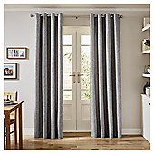 Basketweave Lined Eyelet Curtains,  (66 x 54'') - Grey