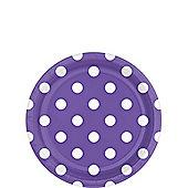Purple Polka Dot Dessert Plates - 18cm Paper Party Plates