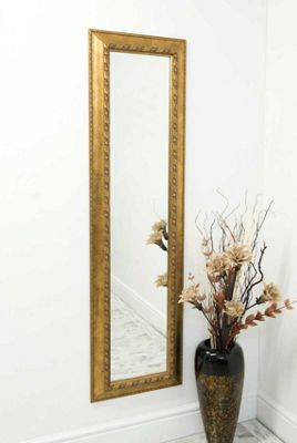 Large Gold Decorative Ornate Dress Cheval Mirror 5Ft7 X 1Ft7 170cm X 48cm
