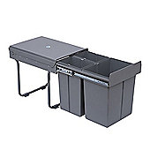 Homcom Recycle Waste Bin 40L Pull Out & Soft Close Kitchen Cabinet