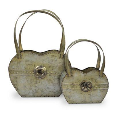 Pair Novelty Handbag Planter with Beautiful Rose Design