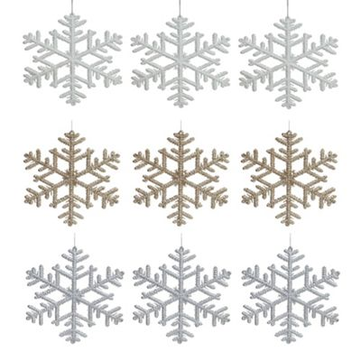 Set of 9 Silver, Gold & White 19cm Snowflake Christmas Tree Decorations