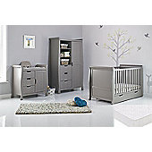 Obaby Stamford Cot Bed 4 Piece Sprung Mattress Nursery Room Set - Taupe Grey
