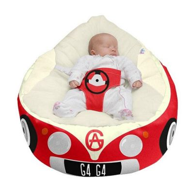 Gaga Luxury Cuddlesoft Baby Bean Bag - Iconic Campervan Red