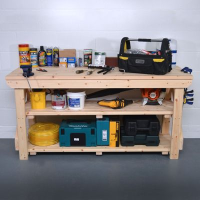 Wooden Work Bench - With Shelf - 8ft