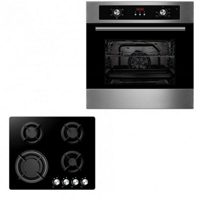 Oven & Hob Pack COF605SS GGH605BK | Cookology 60cm Built-in Electric Programmable Fan Oven & Gas-on-Glass Hob Pack