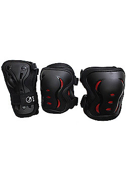 SFR Essentials Triple Padset - Black / Red - Large (age 9-12)