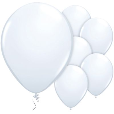 White 11 inch Latex Balloons - 25 Pack
