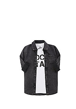 F&F Rock Star T-Shirt and Denim Shirt Set - Black & White
