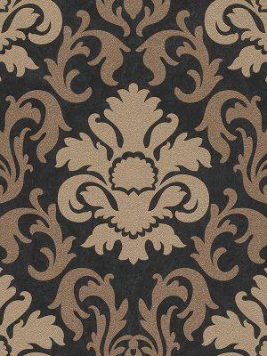 Carat Damask Glitter Wallpaper - Gold and Black - 13343-90