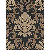 Carat Damask Glitter Wallpaper - Gold and Black - 13343-90