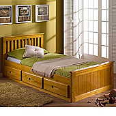 Happy Beds Mission Wood Storage Bed with Pocket Spring Mattress - Honey Pine - 3ft Single