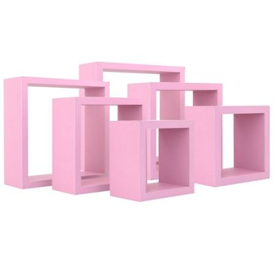 Square Floating Wooden Wall Storage Display Shelves 3 Sizes Pink Set of 6