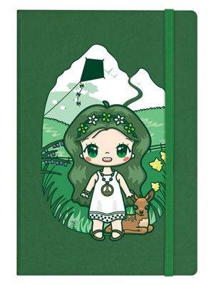 Mio Moon Flower Power A5 Green Hard Cover Notebook 14x21cm