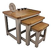 Aspen Painted Oak Nest Of Tables / Sage Grey Oak Nesting Tables