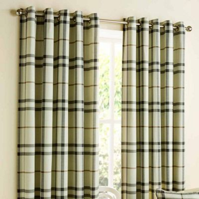 Homescapes Natural Beige Tartan Check Eyelet Curtain Pair 66x90