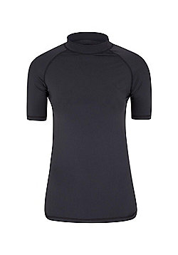 Rash Vest UV Protection Womens Swimming Diving Surfing Top - Black