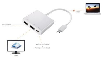 2-Power HUB0104A 0.6m USB C + A HDMI White video cable adapter