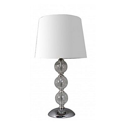 Clear Cracked Glass 3 Ball Table Lamp With 8 Inch White Shade