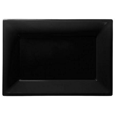 Black Serving Platters - 23cm x 32cm Plastic - 3 Pack