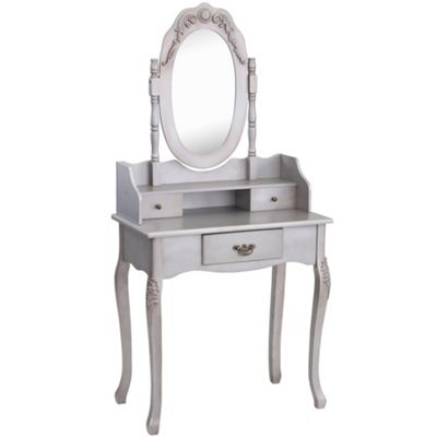 Beautify Dressing Table Silver Vintage Bedroom Makeup Desk & Mirror Set