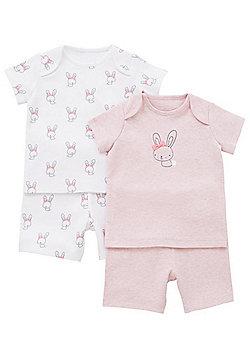 F&F 2 Pack of Bunny Print Pyjamas - Pink & White