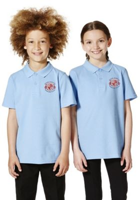Unisex Embroidered School Polo Shirt 9-10 years Sky blue