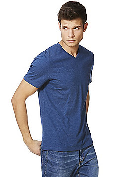 F&F Marl V-Neck T-Shirt - Denim blue