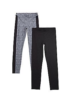 F&F Active 2 Pack of Leggings - Black